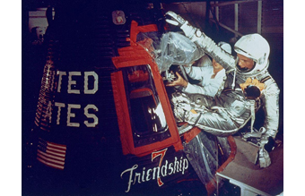 John Glenn enters the Friendship 7 capsule. Photo courtesy of NASA.