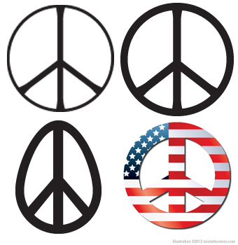 original peace symbol with variations