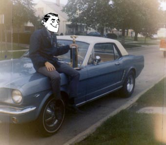 Brother Boomer sits on his used 1965 Mustang, circa 1969, holding the trophy he won for racing the car.