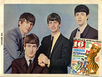 "16 Magazine boasts ""Beatles: First Color Pin-Up"" on this May 1964 cover from Mister B's collection of his sister's fanzines. Notice how Bobby Rydell and The Beatles headlines are at the top of the cover, with Elvis news relegated near the bottom as the new age of rock 'n roll and boomer celebrities slowly replaced the old."